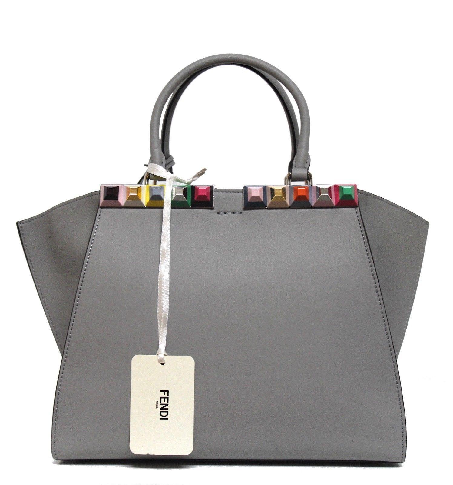995a4c209e0c ... New  3500 Fendi 3Jours Studded Leather Shopper Printed Studs Palladium  Bag ...