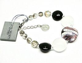 Bracelet Antique Murrina Venezia Lampwork Murano Glass Charm Bead Black & White image 4
