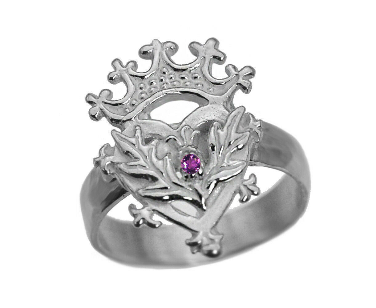 Scottish Luckenbooth Ring Sterling Silver Heart Crown Amethyst Thistle Celtic