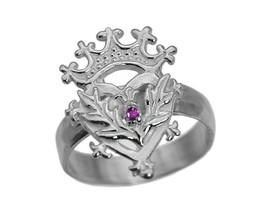Scottish Luckenbooth Ring Sterling Silver Heart Crown Amethyst Thistle C... - $30.00