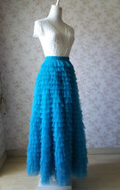 TIERED Long Bridesmaid Tulle Skirt Blue Puffy Maxi Plus Size Tiered Tulle Skirt  image 3