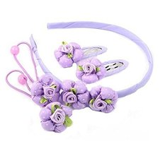 Set of 5 Children Hair Bands Beautiful Hairpins and Hair Circle, Purple