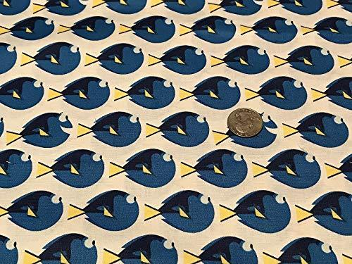 Primary image for Fabric by The 1/4 Yard Blue Fish beautyfull Stripe on White Cotton