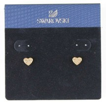 Swarovski Crystal Gold Tone Heart Stud Earrings New on Card image 1