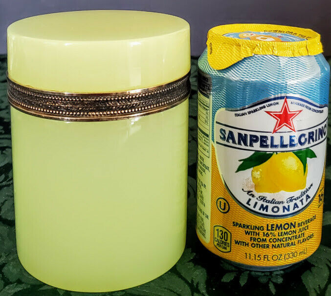 Vaseline Opaline French Antique Glass Canister w-Lid, Creamy Yellow Excellent