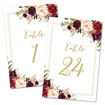 InvitationHouse Bold Floral Table Number Cards 1-24 - Double Sided 4x6 Gold - $18.49