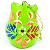 Handcrafted Painted Ceramic Green Owl Confetti Ornament Made in Peru image 3