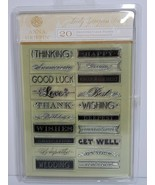 Anna Griffin 20 Clear LOVELY LETTERPRESS STAMPS Happy Birthday Wedding O... - $12.99