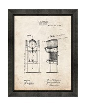 Beer Cooler Patent Print Old Look with Beveled Wood Frame - £17.91 GBP+