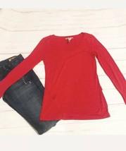 BCBG Maxazria Women's Sz Small Knit Top Long Sleeve Red Stretch Ruffle Tee - $11.88