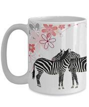 Creative Zebra Mom And Daughter Gift White Ceramic Coffee Mug 15oz - $21.73