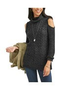 Faded Glory Women's Cold Shoulder Sweater Size Large 12-14 Black Marled - £14.63 GBP