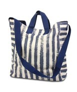 2-in-1 Cross-Over Crossbody Messenger Cotton Canvas Large Tote Bag (Navy... - $28.50 CAD