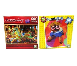 2 Vintage PUZZLEBUG Jigsaw Puzzles 500 pc. Carousel and 100 pc. Dog PUZZ... - $11.39