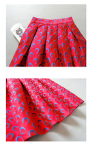 Women Deep Red Party Skirt High Waist Red Pleated Skirt A-line Midi Party Skirts image 5