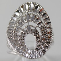 SOLID 18K WHITE GOLD BAND RING OVAL WAVE, BRIGHT, FINELY WORKED MADE IN ITALY image 1