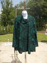 NWT ALI MILES GREEN&BLACK SWIRLS TUNIC M $79 - $29.99