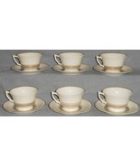 Set (6) SYRACUSE Old Ivory NIMBUS PATTERN Cups and Saucers MADE IN USA - $49.49