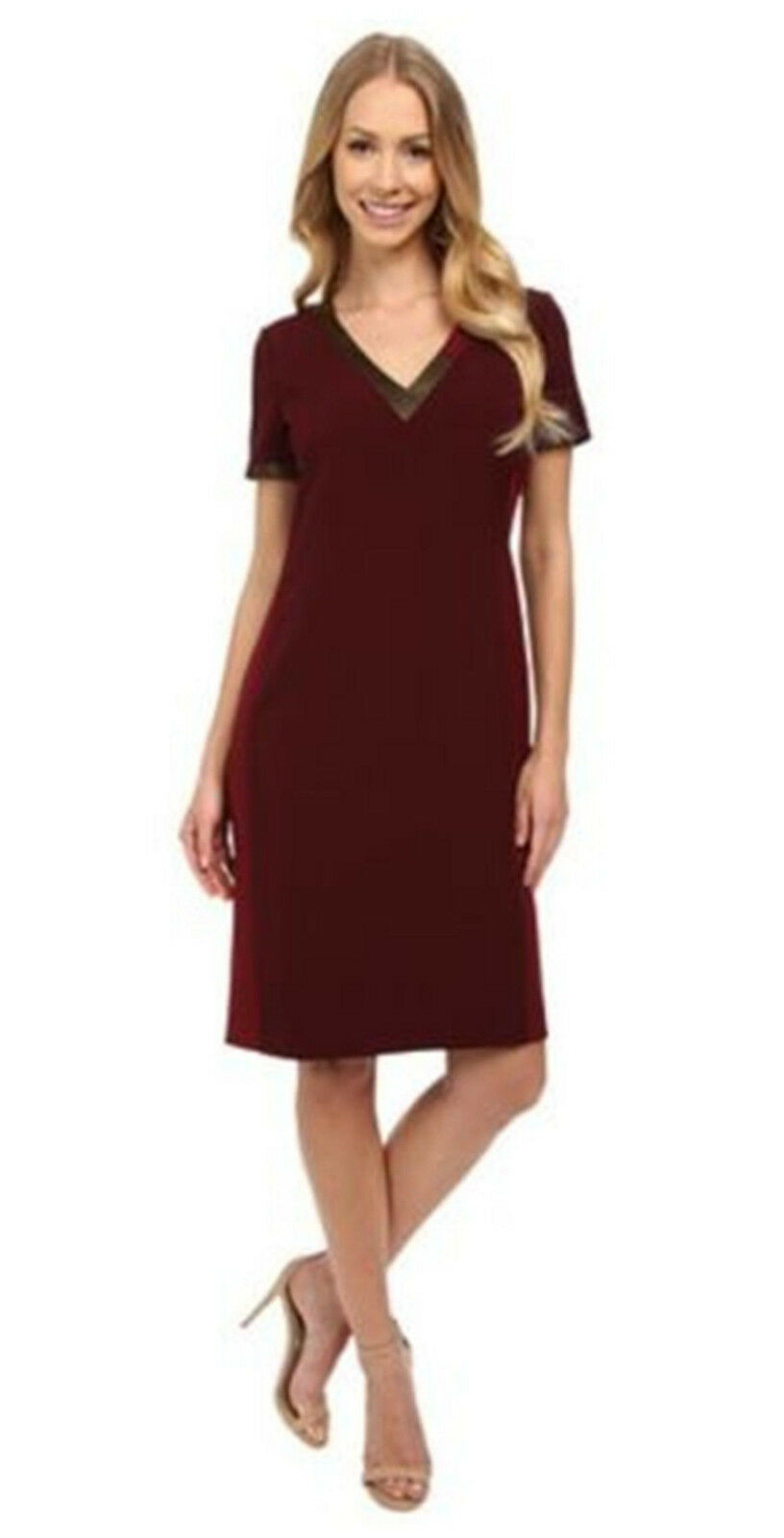 Anne Klein Women's V-neck Lined Sleeveless Red Wine Dress 10 $129