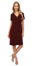 Anne Klein Women's V-neck Lined Sleeveless Red Wine Dress 10 $129 - $53.69
