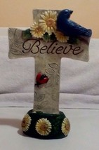 Christian Cross on a base with flowers With ( Believe) & Blue Bird, Lady... - $7.25