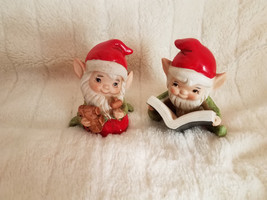 Vintage Homco Elves Christmas Decor Elf Reading Book & Elf Toy Maker 2 Figures - $21.28