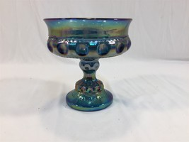 "Vintage Blue Carnival Glass Iridescent Stemmed Candy Dish 5"" Compote - $19.99"
