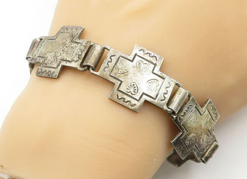 Primary image for MEXICO 925 Silver - Vintage Etched Love Hearts Cross Chain Bracelet - B6450