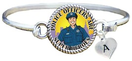 Police Officers are Super Heroes Silver Cuff Bracelet Jewelry Choose Initial - $14.24