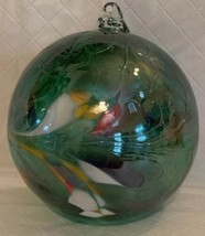 Hand Blown Iridescent Green Glass Witches Ball Ornament Multi Color Sun ... - $23.75