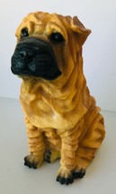 "Shar Pei Dog Figurine Resin Very Wrinkly 7.75"" tall Castagne? No label - $25.15"