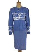 St. John Women's Santana Knit Cornflower Blue Seashell Skirt Suit Jacket... - $102.81