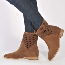 MICHAEL KORS New Sunny Suede Laser Cut Boots Ankle Western Booties Brown... - $80.10