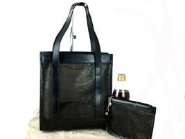 Auth GUCCI Mesh Leather Black Shoulder Bag Hand Bag W/ Pouch Purse Good ... - $167.31