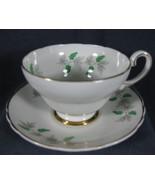 Crown Fine Bone China Tea Cup & Saucer Set England Green Berries Wisteri... - $14.97