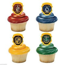 Harry Potter Hogwarts Houses Cupcake Rings 24ct Cake Toppers Party Favors - $9.85