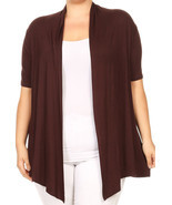 Women Plus Size Short Sleeve Cardigan Casual Cover Up Brown V433 - $389,49 MXN+
