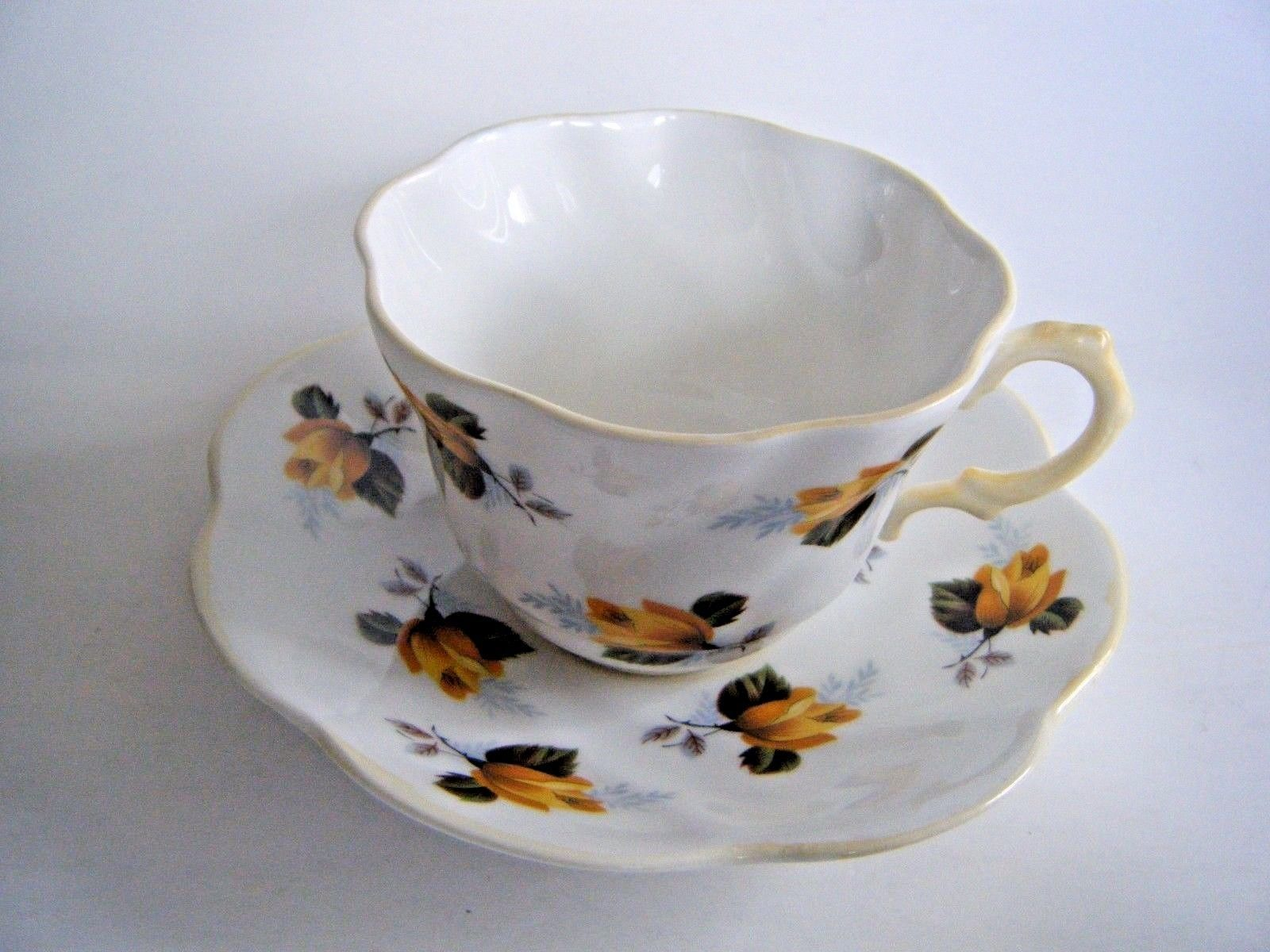 Primary image for Rosina Fine Bone China Tea Cup & Saucer Yellow Roses Pattern Made In England