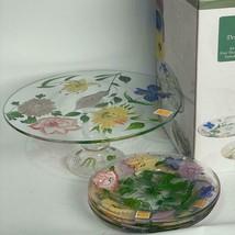 New Royal Danube Glass Pedestal Hand Painted Cake Plate Flower Garden + ... - $47.02