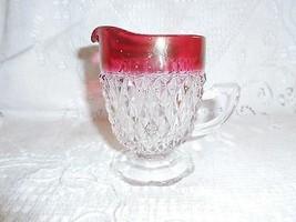 Indiana Glass Co. Ruby Flash Diamond Point 6 oz Cream Pitcher - $0.98