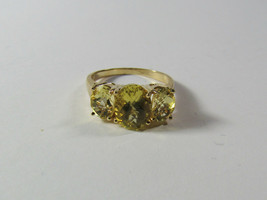 14K 14KT Yellow Gold Fancy Checkerboard Citrine Size 7.75 Ring Clyde Dun... - $198.00