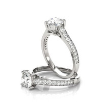 Forever Brilliant Moissanite Cathedral Diamond Journey Engagement Ring - $1,250.00