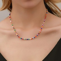 Ethnic style color small beads fashion beaded necklace summer beach clavicle cha - $9.51