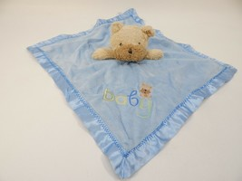 Carter's Security Blanket Lovey Satin Teddy Bear or Dog Brown Blue Baby ... - $19.79