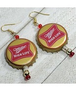 Miller high life Beer Real Bottle Cap Fashion Novelty Earrings Jewelry (10) - $3.60