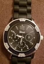 Vivani accutime watch black silicone band rhinestones on edge of case - $5.99