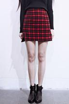 Red and Black Plaid Skirt Slit Plaid Mini Skirt High Waisted Warm Plaid Skirt image 4