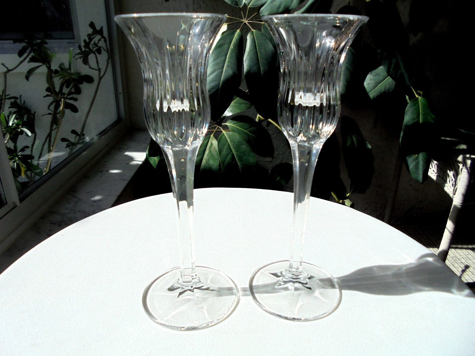 Set of 2 Mikasa Icicles Pattern Single Light Candle Holders