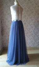 Two Piece Bridesmaid Dress Dusty Blue Tulle Maxi Skirt Crop Lace Top image 4