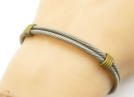 MEXICO 925 Sterling Silver - Vintage 2 Tone Wrapped Twist Cuff Bracelet ... - $63.65
